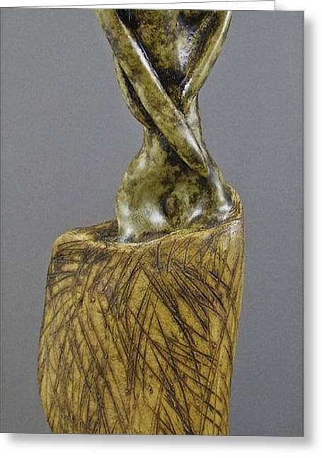 Surrealism Ceramics Greeting Cards - Emergence - Her Greeting Card by Mario Perron