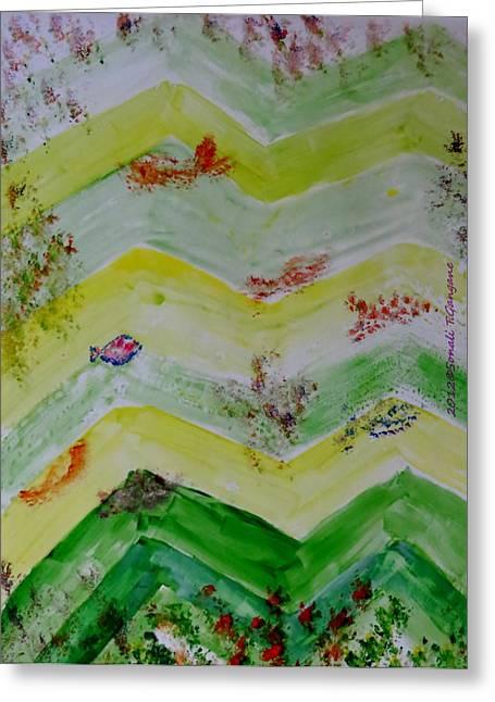 Algae Paintings Greeting Cards - Emergence of Life Greeting Card by Sonali Gangane