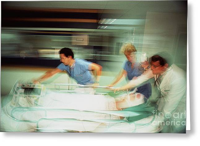 Medical Greeting Cards - Emergency Care Greeting Card by Larry Mulvehill