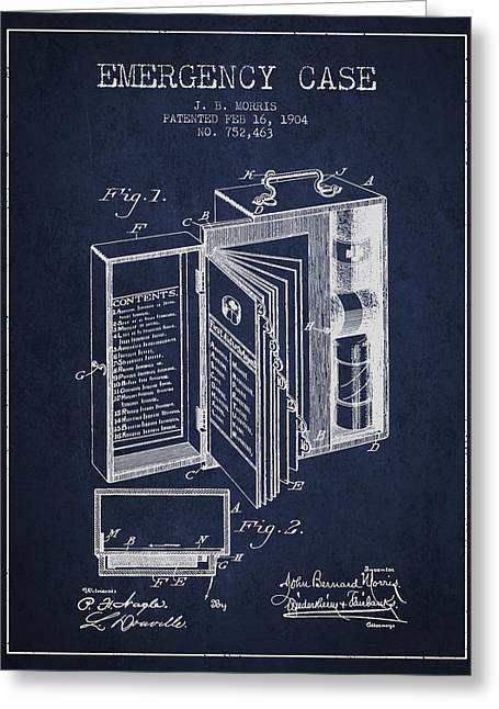 Medication Greeting Cards - Emergency Case Patent from 1904 - navy Blue Greeting Card by Aged Pixel