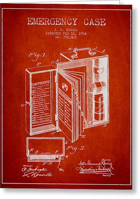 Medication Greeting Cards - Emergency Case Patent from 1904 - Red Greeting Card by Aged Pixel