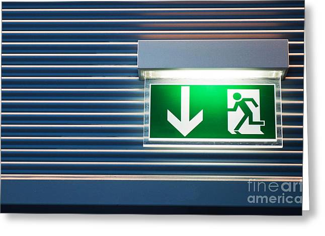 Night Lamp Greeting Cards - Emergency exit sign Greeting Card by Luis Alvarenga