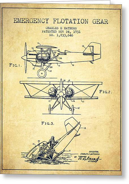 Airplane Greeting Cards - Emergency flotation gear patent Drawing from 1931-Vintage Greeting Card by Aged Pixel