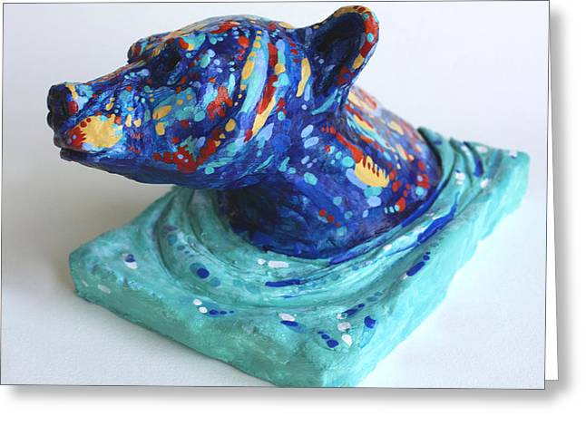 Swimmers Ceramics Greeting Cards - Emerging Bear Greeting Card by Derrick Higgins