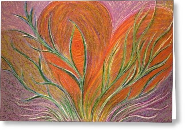 Transformations Pastels Greeting Cards - Emerging Heart Greeting Card by Jamie Rogers