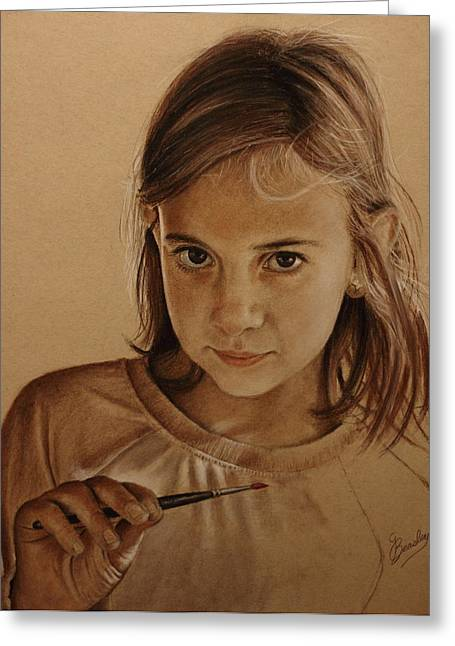 Sepia Pastels Greeting Cards - Emerging Young Artist Greeting Card by Glenn Beasley