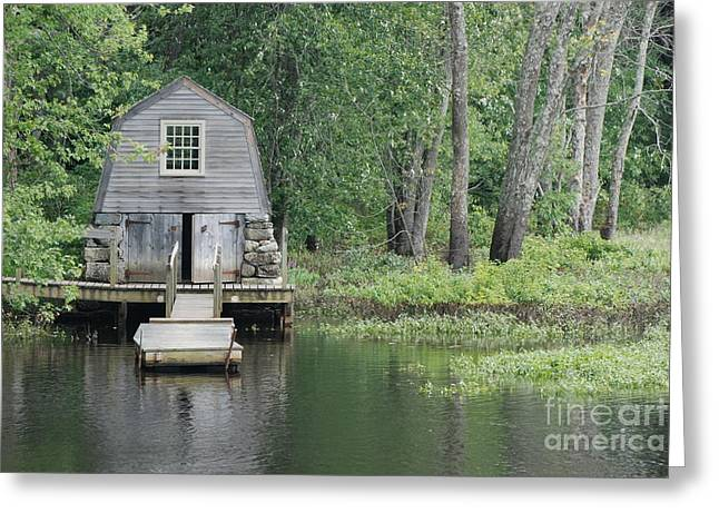 Emerson Boathouse Concord Massachusetts Greeting Card by Amy Porter