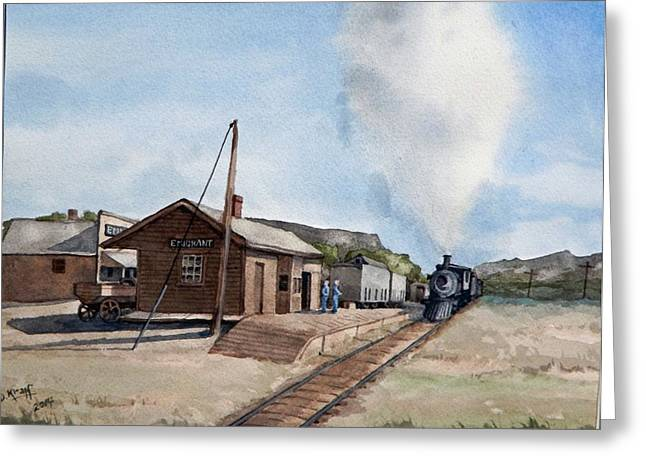 Vintage Ceramics Greeting Cards - Emigrant Montana Station Greeting Card by Dan Krapf