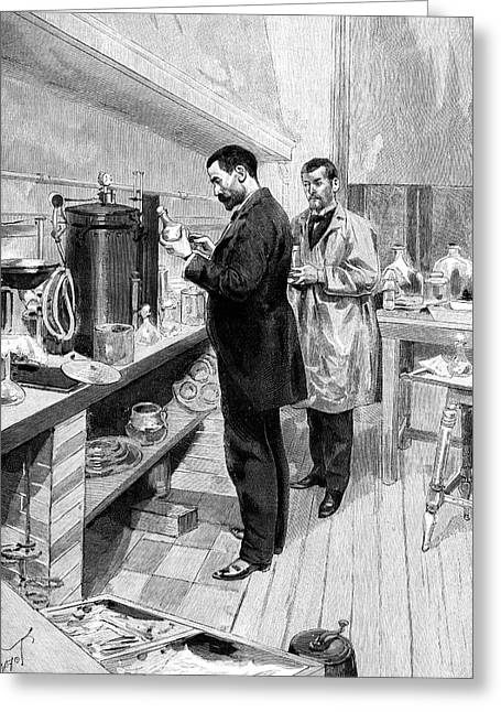 Emile Roux Preparing Croup Vaccine Greeting Card by Collection Abecasis