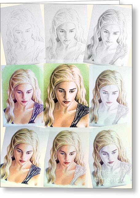 Aceo Original Drawings Greeting Cards - Emilia Clarke miniature step by step Greeting Card by Wu Wei