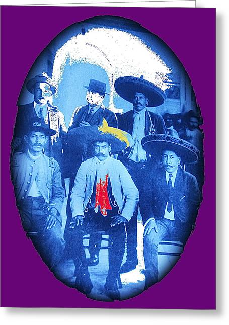Emiliano Greeting Cards - Emiliano Zapata in a group before visit of Pancho Villa in Xochimilco outside of Mexico City 1914-20 Greeting Card by David Lee Guss