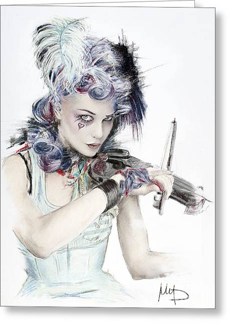Singer Pastels Greeting Cards - Emilie Autumn Greeting Card by Melanie D