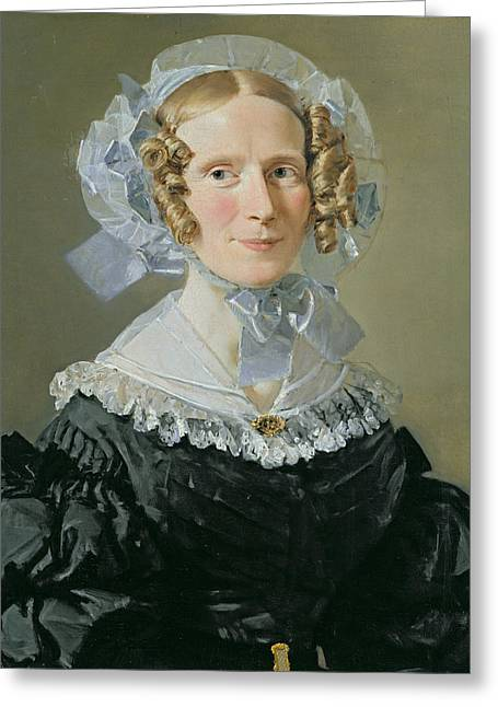 Lace Collar Greeting Cards - Emilie Kessel 1800-53 1839 Oil On Canvas Greeting Card by Christian-Albrecht Jensen