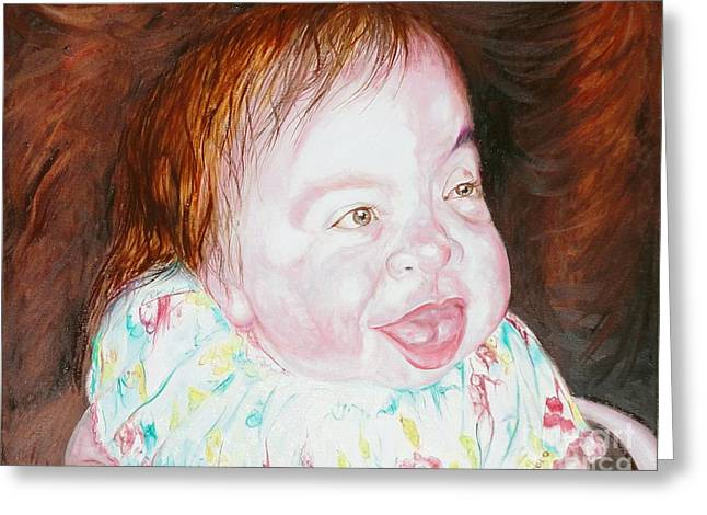 Schoolgirl Paintings Greeting Cards - Emilie the most precious handicapped girl Greeting Card by PainterArtist FINs husband Maestro