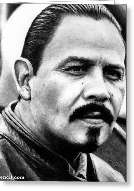 Sons Of Anarchy Greeting Cards - Emilio Rivera as MARCUS ALVAREZ Greeting Card by Rick Fortson