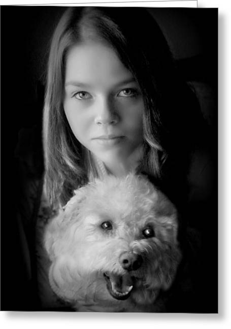 Stein Greeting Cards - Emily and Izzi Black and White. Greeting Card by Valerie Stein