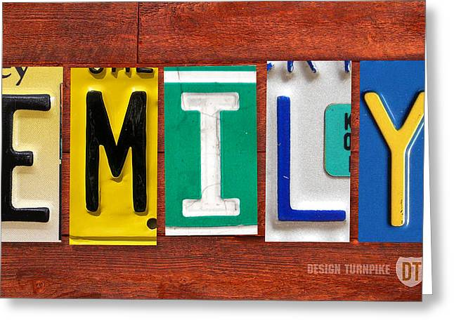 Road Trip Greeting Cards - EMILY License Plate Name Sign Fun Kid Room Decor Greeting Card by Design Turnpike