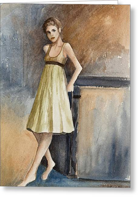 Dry Brush Greeting Cards - Emily Greeting Card by Michelle Wiarda