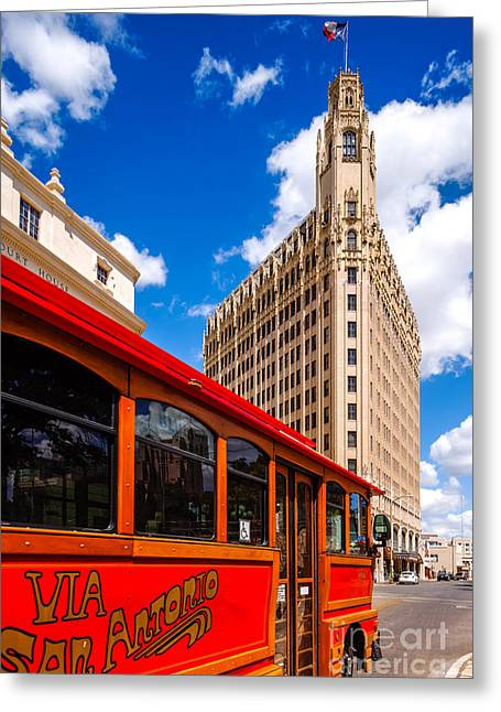 Del Rio Texas Greeting Cards - Emily Morgan Hotel and Red Streetcar - San Antonio Texas Greeting Card by Silvio Ligutti
