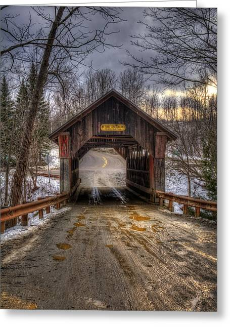 New England Snow Scene Greeting Cards - Emilys Bridge - Stowe Vermont Greeting Card by Joann Vitali