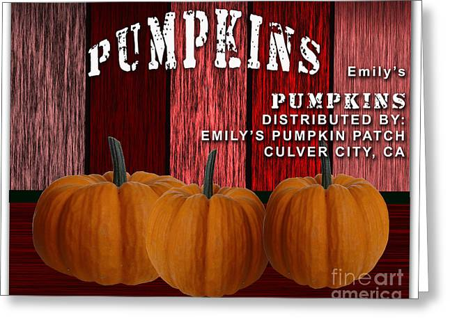 Emilys Pumpkin Patch Greeting Card by Marvin Blaine
