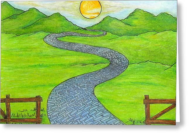 Mountain Road Drawings Greeting Cards - Emilys Road Greeting Card by Ryan Sweeney