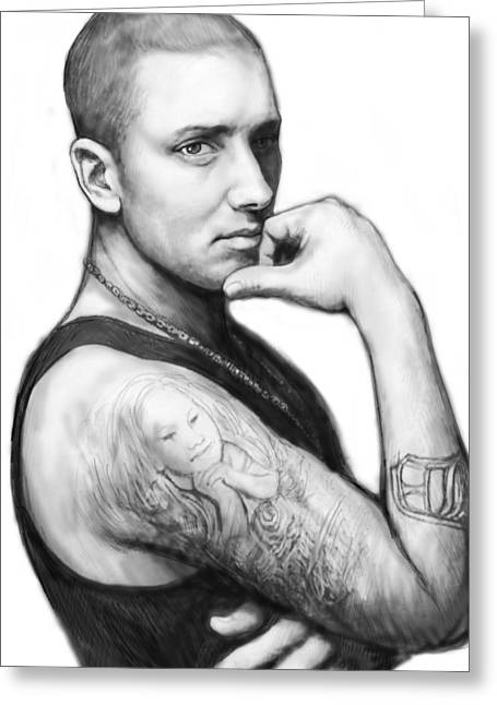 Charcoal Greeting Cards - Eminem art drawing sketch portrait Greeting Card by Kim Wang