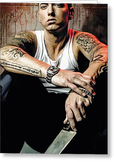 Hip-hop Greeting Cards - Eminem Artwork 1 Greeting Card by Sheraz A