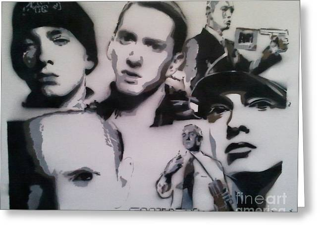 Eminem Paintings Greeting Cards - Eminem Greeting Card by Barry Boom