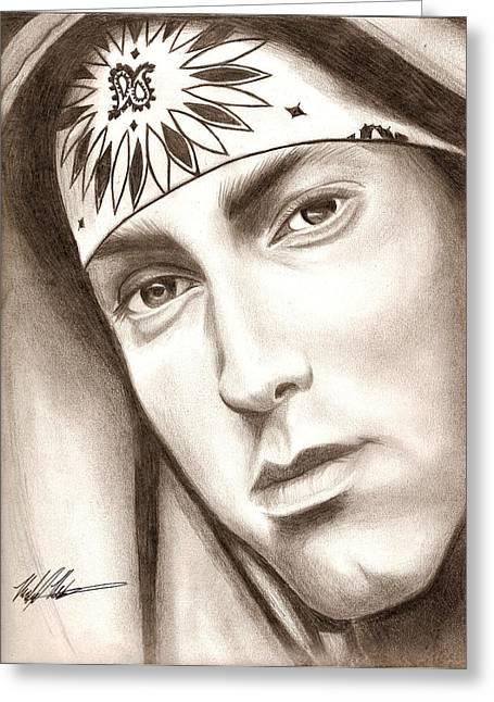 8 Mile Greeting Cards - Eminem Greeting Card by Michael Mestas