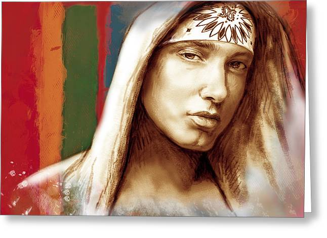 Eminem - stylised drawing art poster Greeting Card by Kim Wang