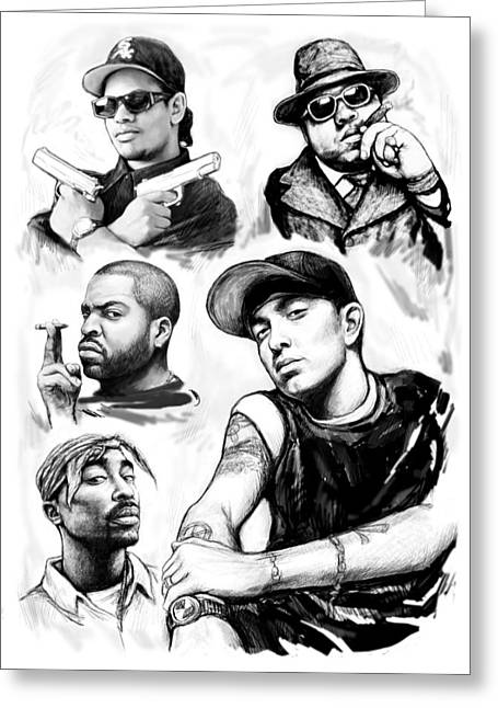 Stylized Greeting Cards - Eminem with rap stars art drawing sketch portrait Greeting Card by Kim Wang