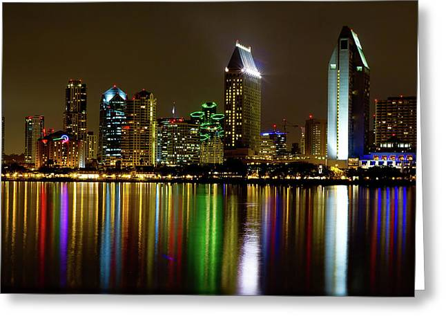 Nighttime Greeting Cards - Eminent Echoes of San Diego Greeting Card by Ryan Weddle