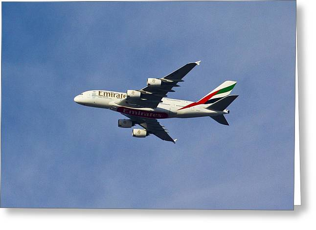 Traffic Control Greeting Cards - Emirates A380 Greeting Card by David Pyatt