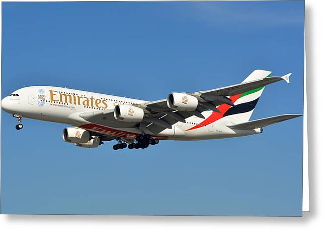 A380 Greeting Cards - Emirates Airbus A380-861 A6-EEO Los Angeles International Airport January 19 2015 Greeting Card by Brian Lockett