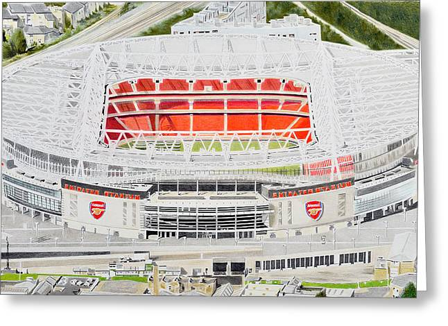 Soccer Greeting Cards Greeting Cards - Emirates Stadia Art - Arsenal FC Greeting Card by Brian Casey