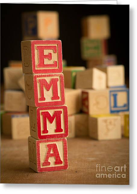 Emma Greeting Cards - EMMA - Alphabet Blocks Greeting Card by Edward Fielding