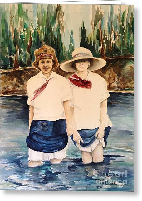 Schoolgirl Paintings Greeting Cards - Emma and Claire Greeting Card by Laura Rainer