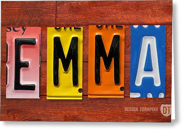 Emma Greeting Cards - EMMA License Plate Name Sign Fun Kid Room Decor Greeting Card by Design Turnpike