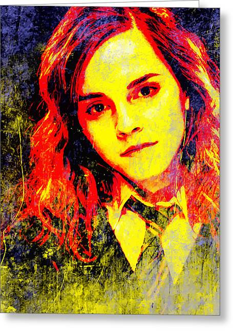 Hermione Granger Greeting Cards - Emma Watson as Hermione Granger Greeting Card by John Novis