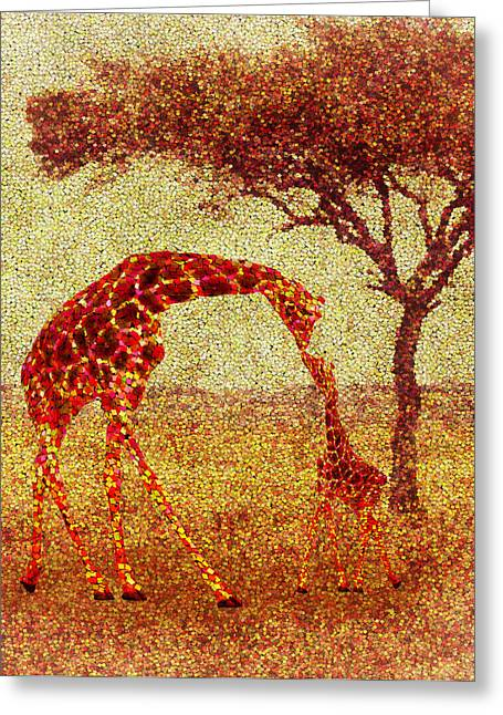 Emma Greeting Cards - Emmas Giraffe Greeting Card by Jack Zulli
