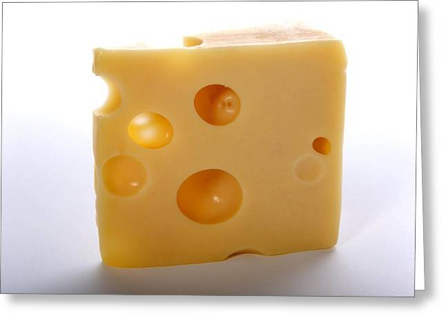 Swiss Cheese Greeting Cards - Emmental cheese Greeting Card by Science Photo Library