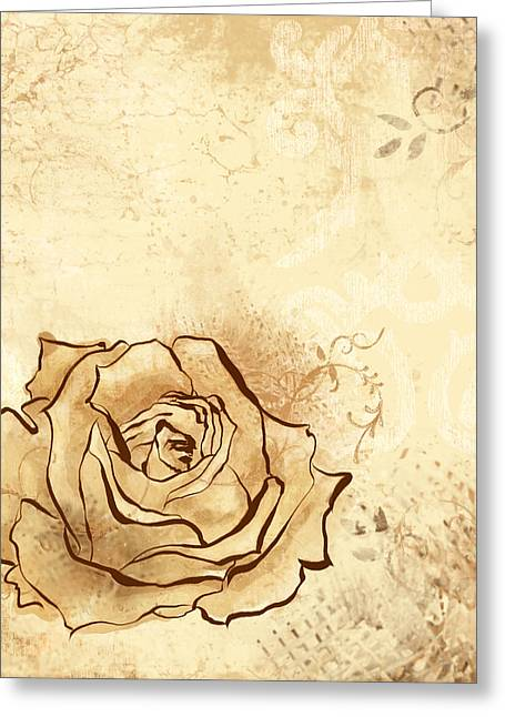 Vine Leaves Greeting Cards - Emmersons Rose Greeting Card by Alison Schmidt Carson