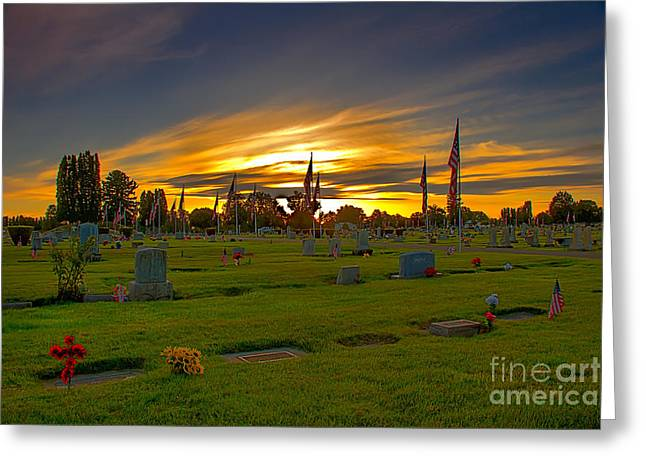 Haybale Greeting Cards - Emmett Cemetery Greeting Card by Robert Bales