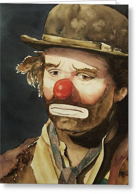 Hobo Greeting Cards - Emmett Kelly Greeting Card by Linda Halom