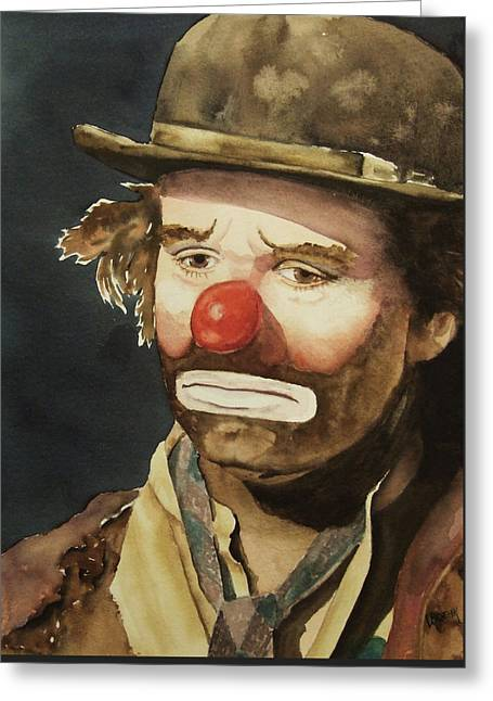 Emmett Kelly Greeting Card by Greg and Linda Halom
