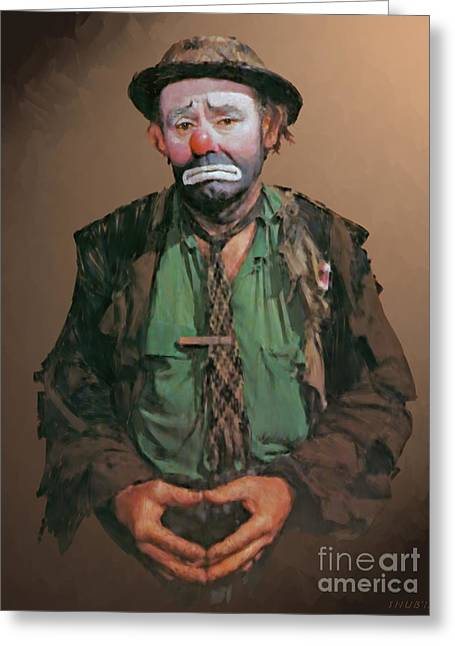 Kelly Digital Art Greeting Cards - Emmett Kelly Greeting Card by Stephen Shub