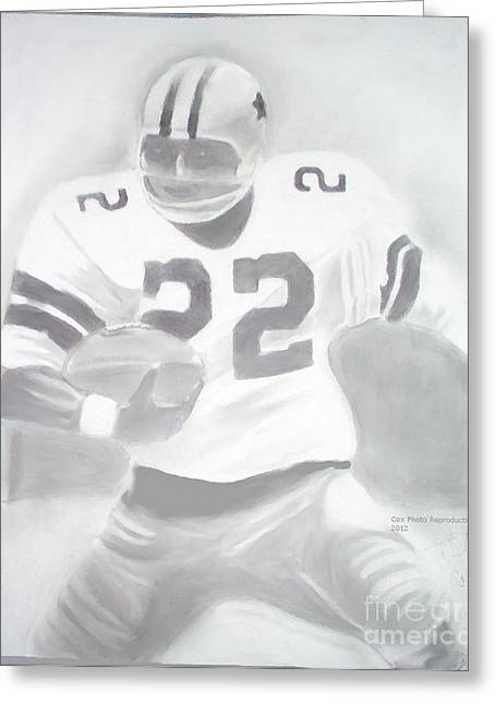 Running Back Drawings Greeting Cards - Emmit Greeting Card by William Cox