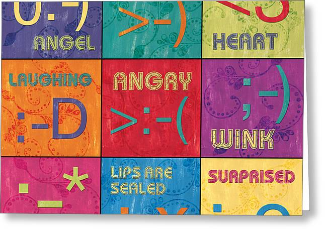 Emoticons Patch Greeting Card by Debbie DeWitt