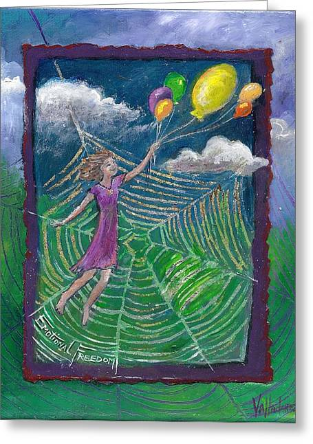Floating Girl Greeting Cards - Emotional Freedom -- Flower Essence Series Greeting Card by Maria Valladarez
